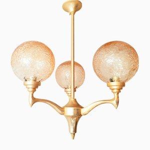 Lámpara de araña francesa vintage de latón dorado y vidrio, años 60