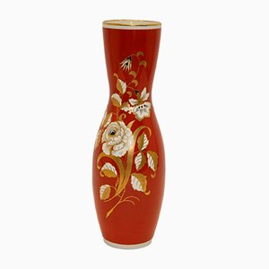 Large Red Porcelain Vase with Golden Flowers from VEB Wallendorf, 1966