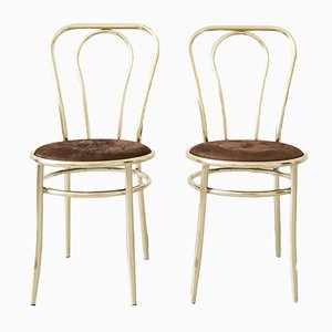 German Golden Side Chairs, 1970s, Set of 2