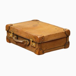 Vintage French Leather Suitcase, 1920s
