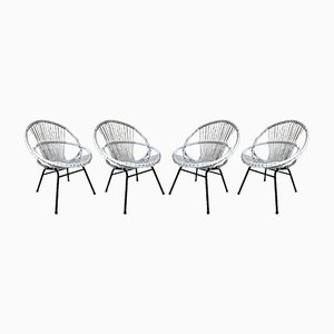 Mid-Century Rattan Lounge Chairs, 1960s, Set of 4