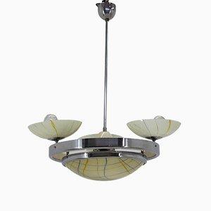 Lámpara de araña Art Déco de cromo, años 30