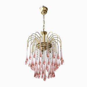 Lámpara de araña italiana vintage de latón y cristal de Murano, años 70