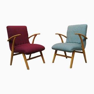 Sessel mit Gestell aus massiver Buche, 1960er, 2er Set