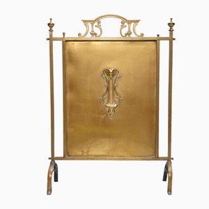 Vintage Art Nouveau Brass Fire Screen, 1930s