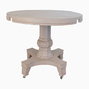 Round Antique Italian Fir Drop-Leaf Dining Table