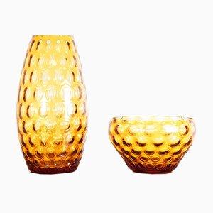 Bernsteinfarbenes Set aus Glasschale & Vase aus der Nemo-Kollektion von Kannegiesser Max für Egermann, 1960er