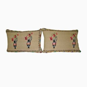 Federe Aubusson fatte a mano di Vintage Pillow Store Contemporary, set di 2