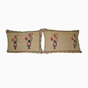 Fundas de almohada Aubusson tejida a mano de Vintage Contemporary Pillow Store. Juego de 2