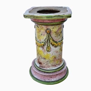 Italienische Vintage Säule aus glasierter Terrakotta