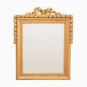 Espejo Luis XVI francés antiguo de madera dorada, década de 1780
