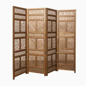 Antique Handmade Brass Folding Screen, 1890s
