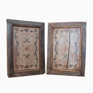 18th-Century Italian Wooden Floral Wall Panels, Set of 2