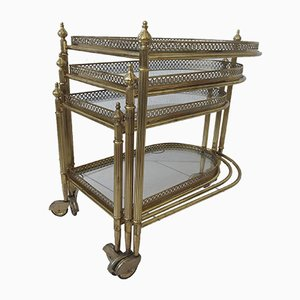 Antique Style French Brass Nesting Serving Bar Carts from Maison Baguès, 1970s, Set of 3