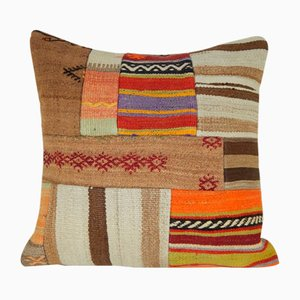 Turkish Patchwork Kilim Rug Pillow Cover from Vintage Pillow Store Contemporary