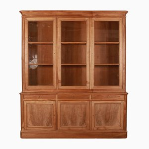 Antique French Bleached Walnut Bookcase Cabinet