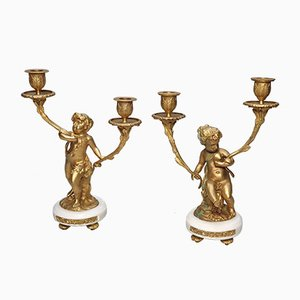 Antique Empire Candleholders by Claude Michael Clodion & Louis-Félix de La Rue, Set of 2