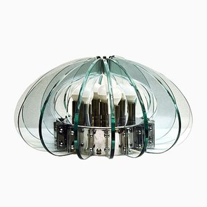 Large Vintage Italian Crystal and Chromed Steel Table Lamp, 1970s