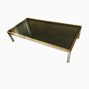 Large Chrome and Brass Coffee Table by Willy Rizzo for Flaminia, 1970s