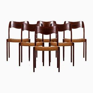 Dänische Modell 71 Esszimmerstühle aus Teak von Niels O. Møller für J.L Møllers, 1950er, 6er Set