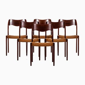 Model 71 Teak Dining Chairs by Niels O. Møller for J.L Møllers, 1950s, Set of 6