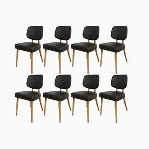 Deutsche Esszimmerstühle aus Buche & Leder, 1960er, 8er Set