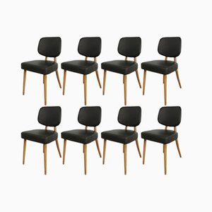 German Beech and Leather Dining Chairs, 1960s, Set of 8