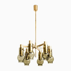 Brass and Glass Ceiling Lamp by Hans-Agne Jakobsson, 1950s