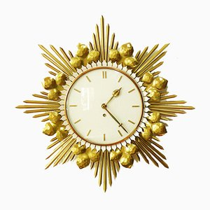 German Brass and Metal Sunburst Wall Clock from Junghans, 1950s