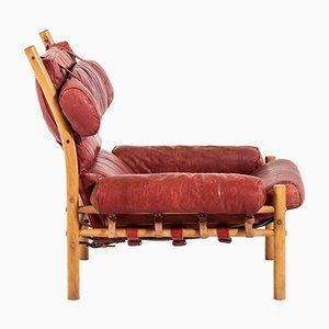 Modell Inca Set aus Sessel und Fußhocker von Arne Norell, 1960er
