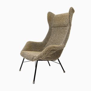 Mid-Century Fabric & Metal Wingback Lounge Chair by Magda Sépová, 1960s