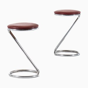 Danish Leather and Steel Stools, 1930s, Set of 2