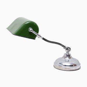Lámpara de banquero ajustable Art Déco de metal cromado y esmalte, años 30
