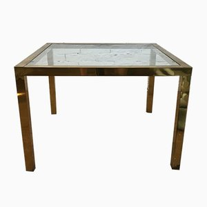 Vintage Italian Brass Coffee Table, 1970s