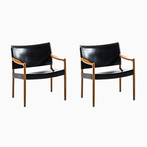 Model Premiär Leather and Oak Easy Chairs by Per-Olof Scotte for Ikea, 1960s, Set of 2