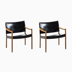 Poltrone Premiär in pelle e quercia di Per-Olof Scotte per Ikea, anni '60, set di 2