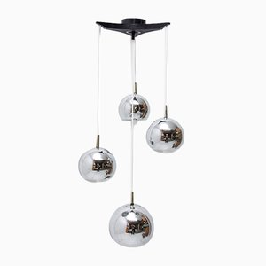 Modernist German Chrome-Plated Pendant Lamp, 1970s