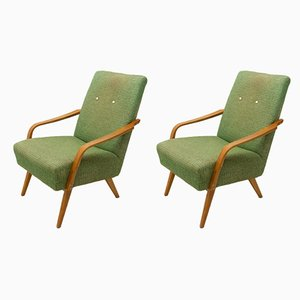 Mid-Century Czechoslovakian Beech Lounge Chairs, 1960s, Set of 2