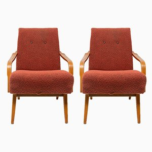 Tschechische Sessel mit Gestell aus Buche von Cesky Nabytek, 1960er, 2er Set
