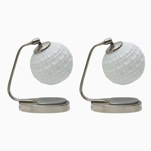 Chrome & Opaline Glass Bauhaus Table Lamps, 1930s, Set of 2