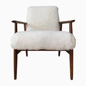 Silla estilo Art Déco de madera curvada y piel de oveja, años 60