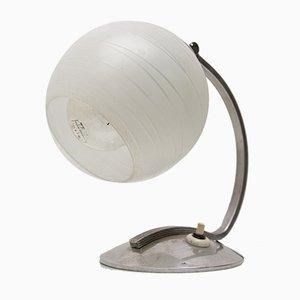 Lámpara de mesa Art Déco de metal cromado y vidrio, años 30