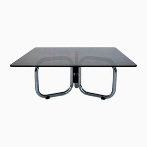 Chrome & Smoked Glass T2000 Coffee Table by Gastone Rinaldi for Rima, 1970s