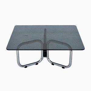 Mesas de centro T2000 de metal cromado y vidrio ahumado de Gastone Rinaldi para Rima, años 70. Juego de 2