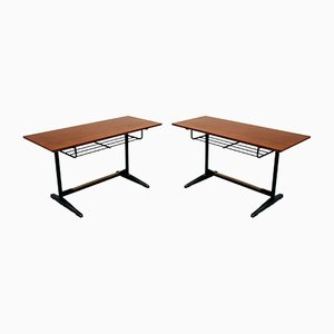 Italian Chrome & Rosewood Desks by Gio Ponti for Rima, 1960s, Set of 2