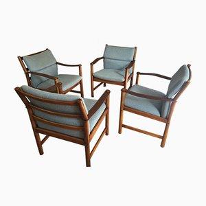 Dänische Vintage Sessel aus Leder & Eiche, 1970er, 4er Set