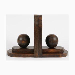Art Deco Buchstützen aus Holz, 1930er, 2er Set