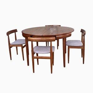 Juego de mesa de comedor y sillas danesas de teca de Hans Olsen para Frem Røjle, años 60