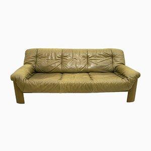 Sofá de tres plazas vintage de cuero y roble, años 70