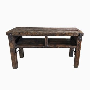 Antique Industrial Wood & Pine Workbench, 1920s